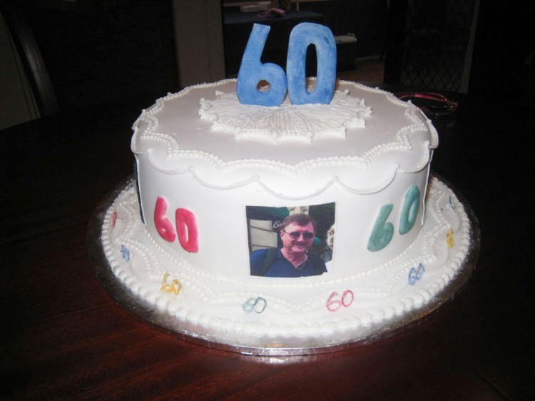 Simple White 60th Birthday Cake Picture in Birthday Cake