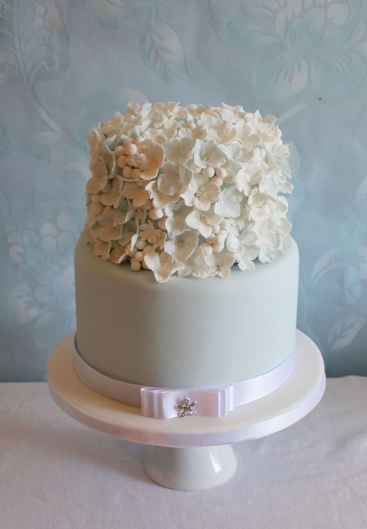 Snowberry Hydrangea Wedding Cake Picture in Wedding Cake