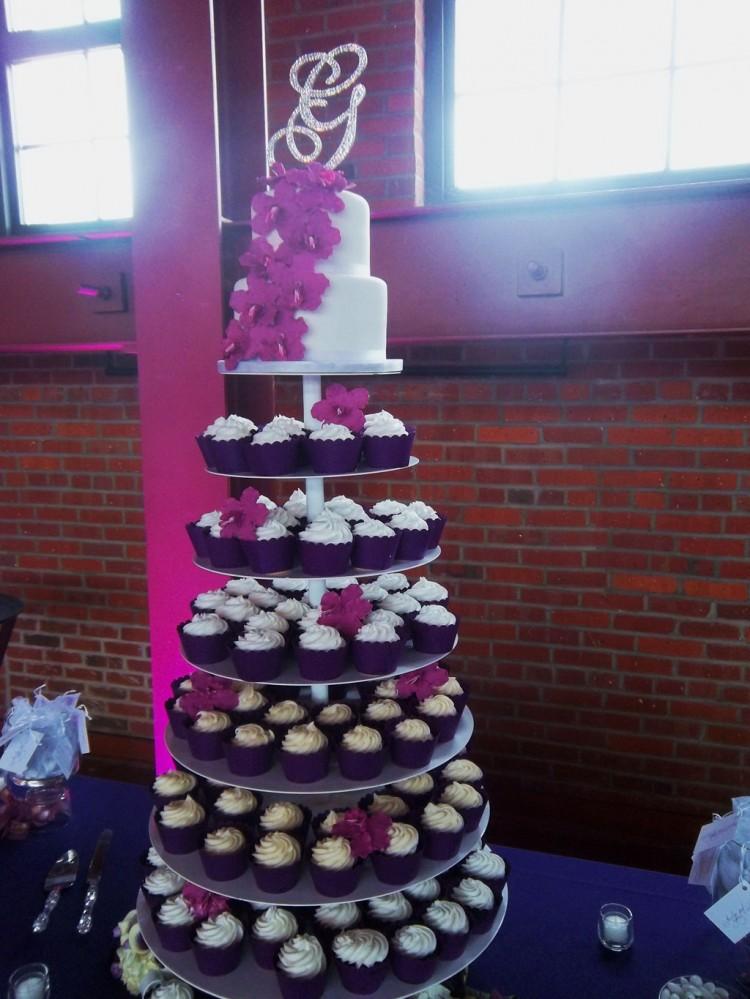 Springfield Wedding Reception Illinois Cupcake Cake Pink Purple Fuchsia Harp Player Picture in Wedding Cake