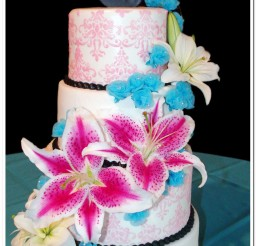 1024x1786px Stargazer Lily Wedding Cake Decoration Picture in Wedding Cake