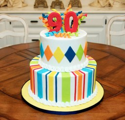 1024x683px Striped Colour 90th Birthday Cakes Picture in Birthday Cake