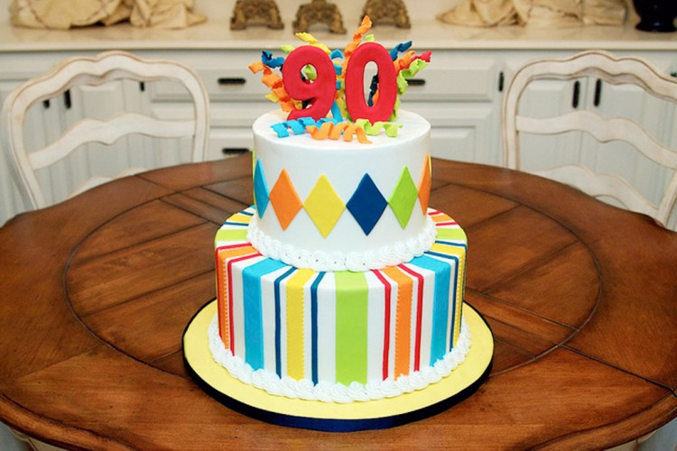 Striped Colour 90th Birthday Cakes Picture in Birthday Cake