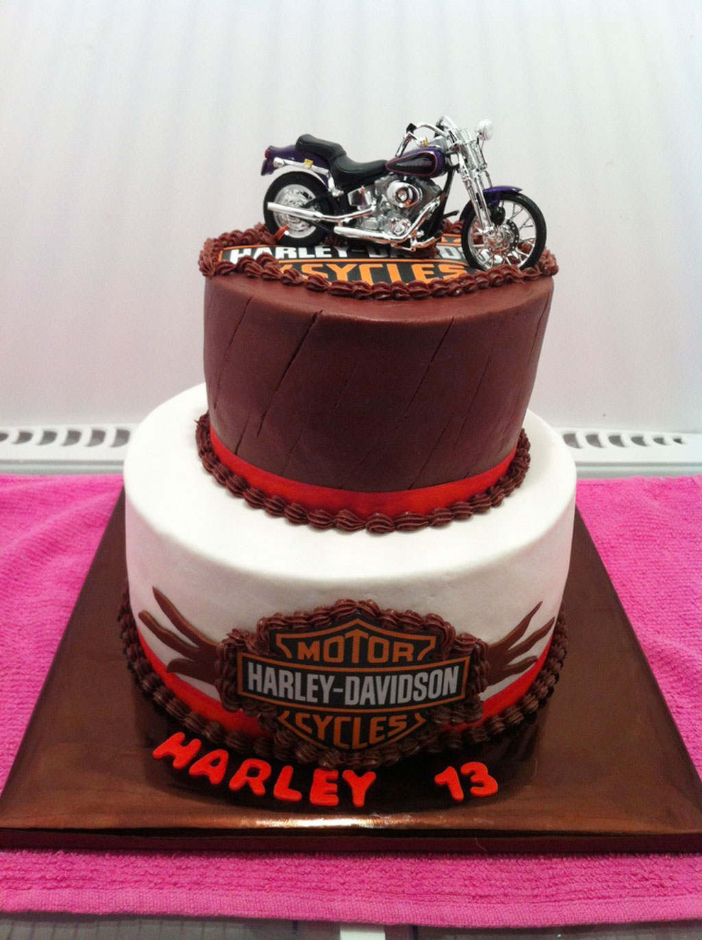 Two Layer Harley Davidson Birthday Cakes Birthday Cake Cake Ideas