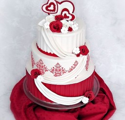 1024x1368px Valentine Wedding Cake Roses Damask Picture in Wedding Cake