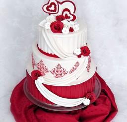 1024x1368px Valentine Wedding Cake Roses Damask Picture in Wedding Cake