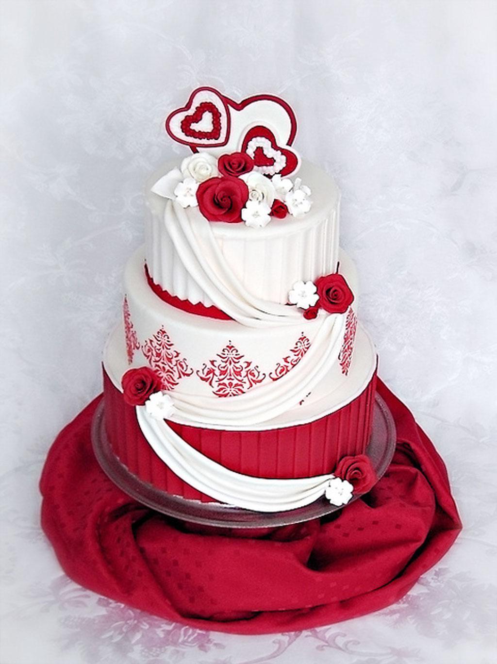 Valentine Wedding Cake Roses Damask Wedding Cake - Cake Ideas by ...