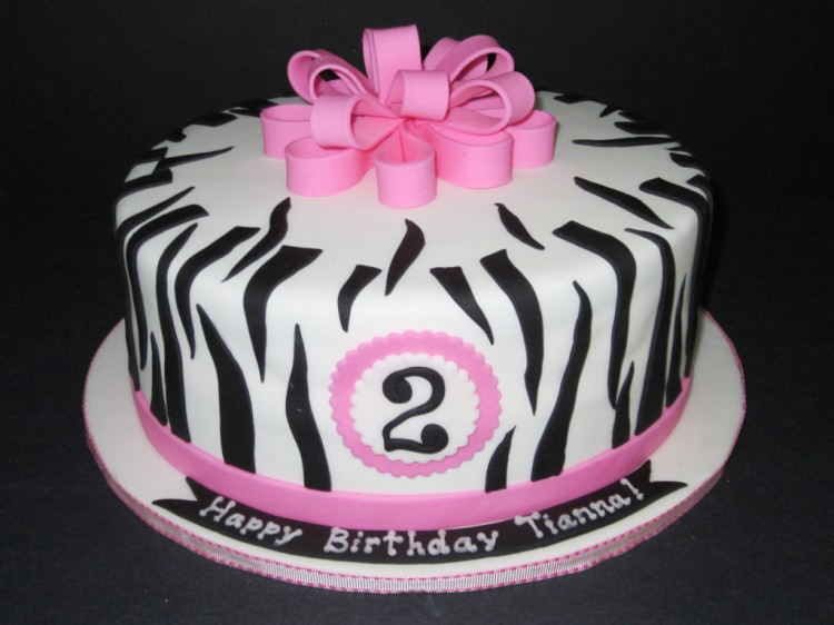 Zebra Print Birthday Supplies Picture in Birthday Cake
