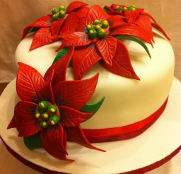 736x985px Poinsettia Cake Picture in Cake Decor