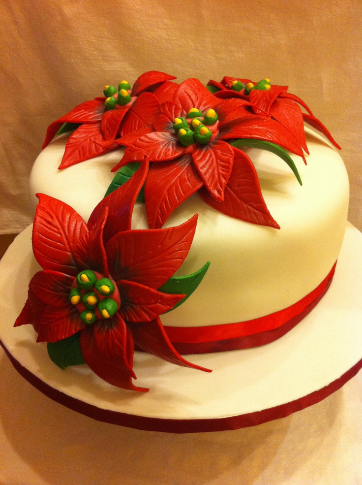 Poinsettia Cake Picture in Cake Decor