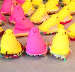 640x640px Chocolate Dipped Peeps Picture in Chocolate Cake