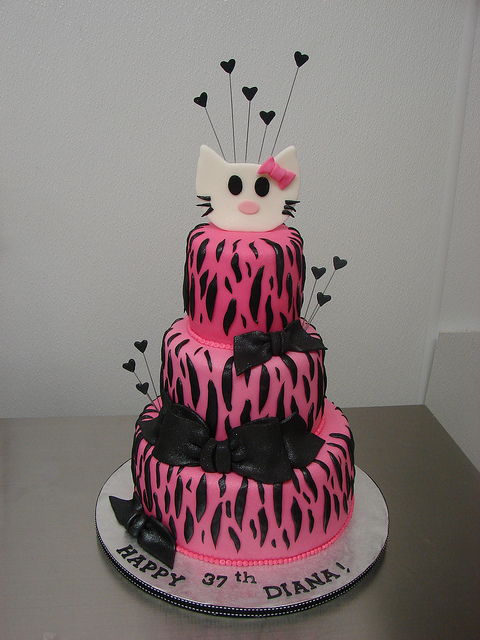 Hello Kitty Zebra Print Picture in Birthday Cake